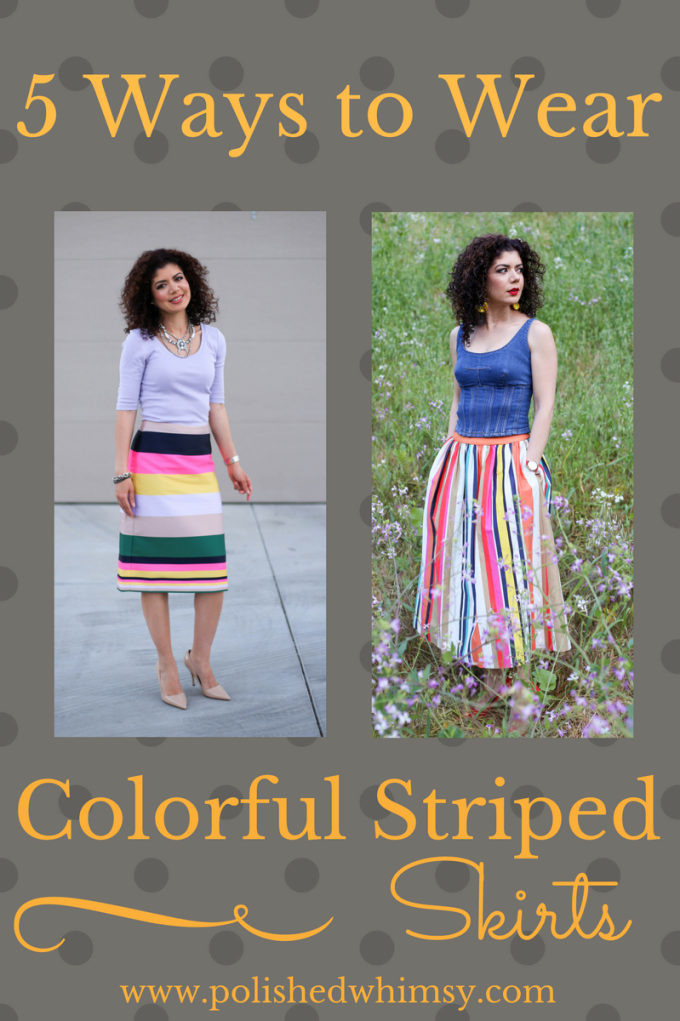 5 colorful striped skirt outfit ideas.
