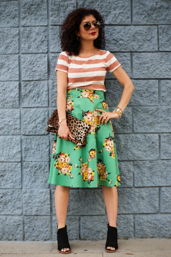 Rugby stripe pattern mixing three prints: floral, leopard and stripes with Anthropologie Tracy Reese green floral midi skirt, Madewell rugby stripe tee and Clare V leopard print clutch