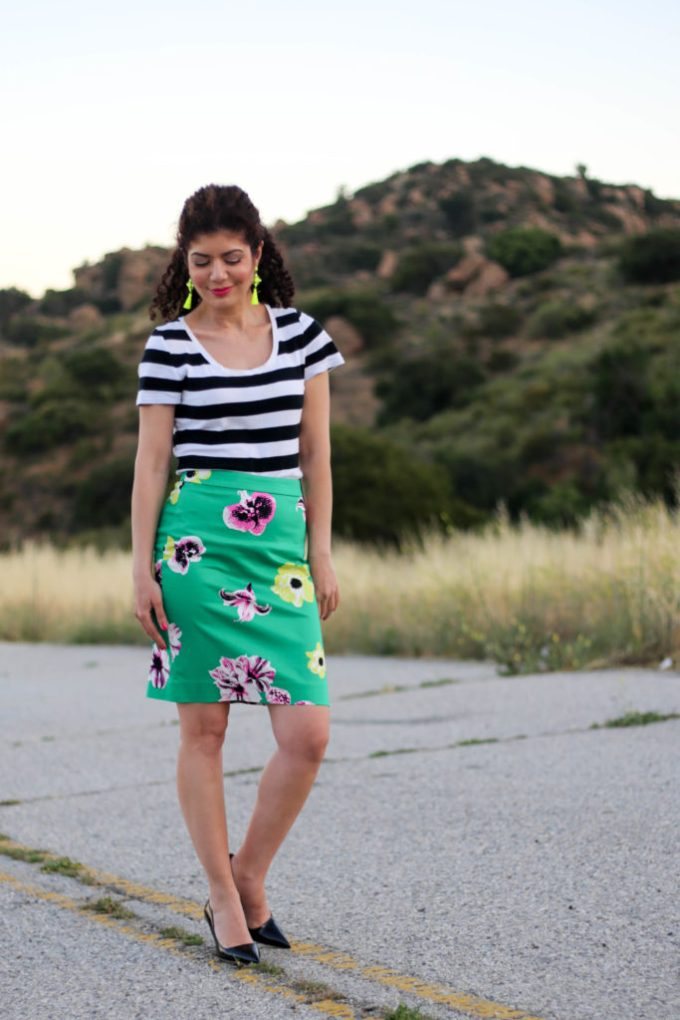 Rugby stripe patter mixing with J Crew floral punk skirt and black and white striped tee shirt