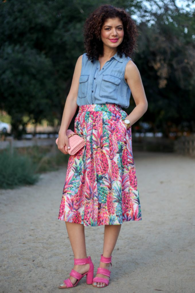 J crew ratti painted pineapple a line skirt with who what wear sleeveless chambray top and j crew pink rattan clutch