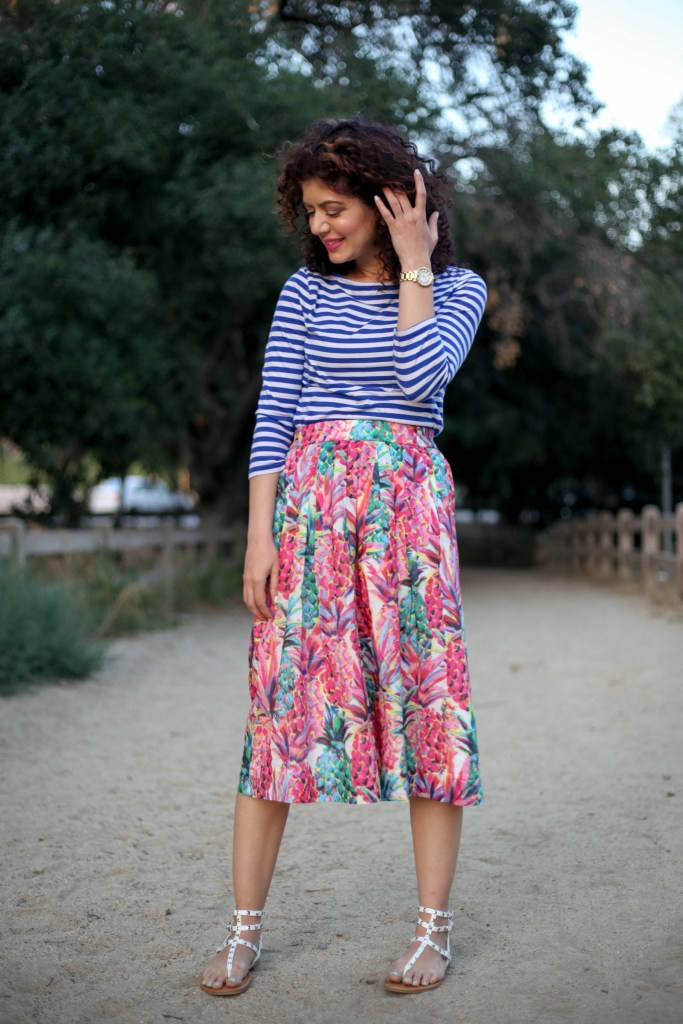 J crew ratti painted pineapple a line skirt with blue striped tee