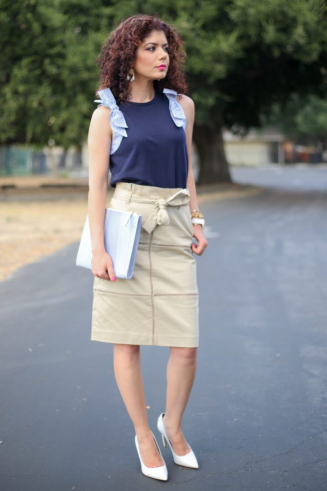 Banana Republic paperbag waist lace inset skirt styled for a summer work outfit with a J Crew Navy bow sweater and Sam Edelman white pumps