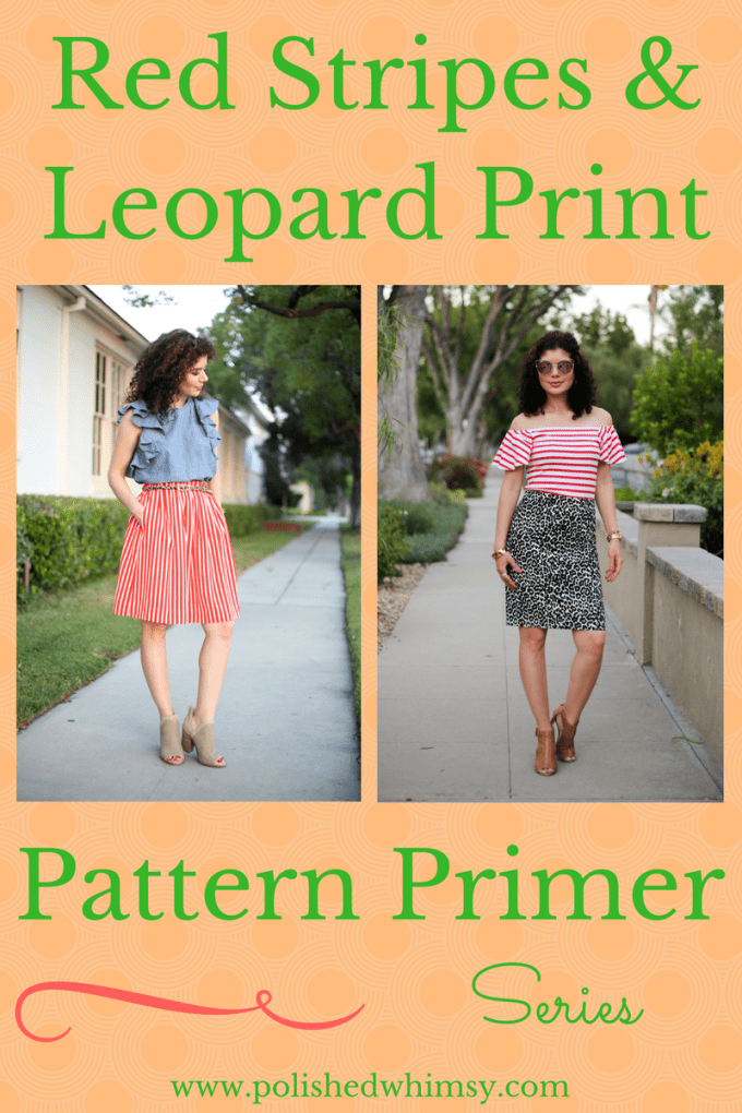 How to wear red stripes and leopard print pattern mixing outfit