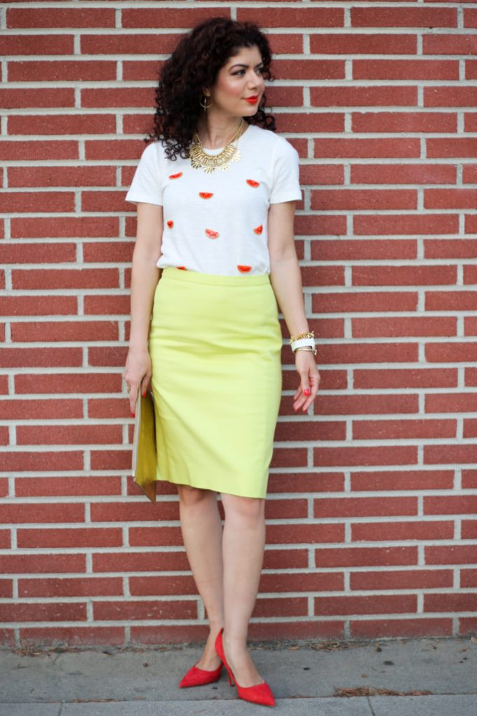 J Crew Factory watermelon print shirt and pencil skirt for a work appropriate look