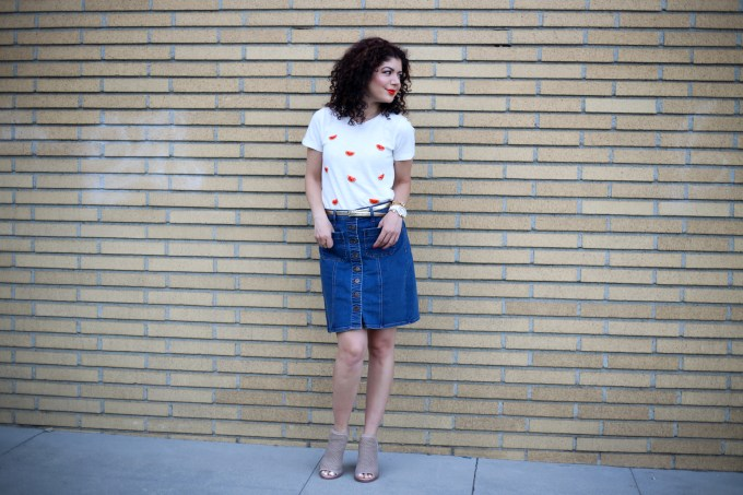 J Crew factory watermelon print shirt and denim a line skirt styled for a casual look