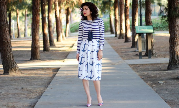 Triple pattern mix with anchor print skirt, striped tee shirt and floral print pumps