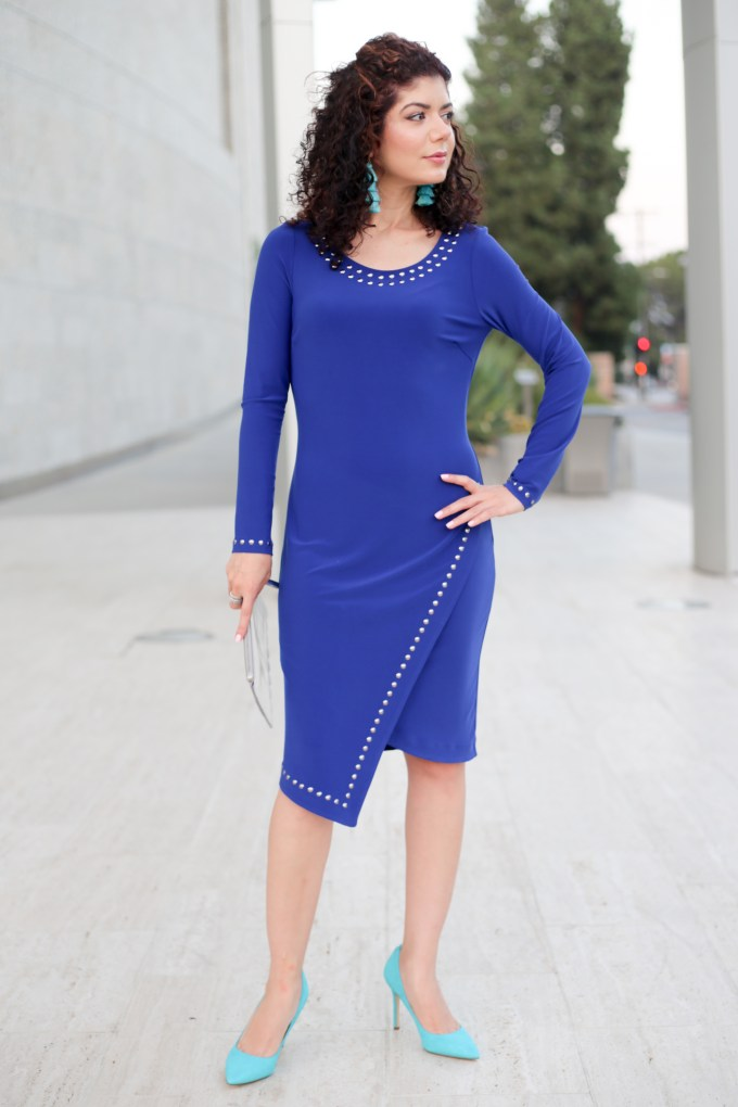 Cobalt and turquoise outfit with Picadilly Canada embellished asymmetrical hem dress