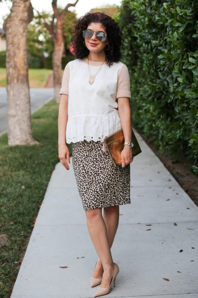 Fall transition work outfit with J Crew colorblock eyelet peplum sweater