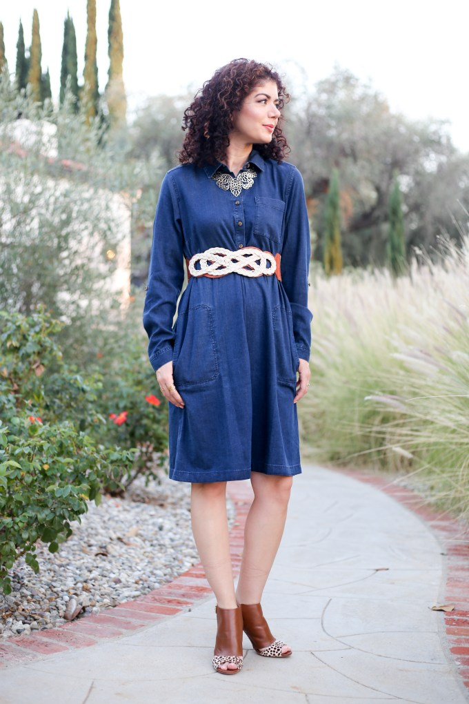 Pairing a denim shirtdress and booties for a stylish outfit on polished whimsy. J Jill tencel denim shirtdress, anthropologie belt and booties. Style over forty, everyday style.