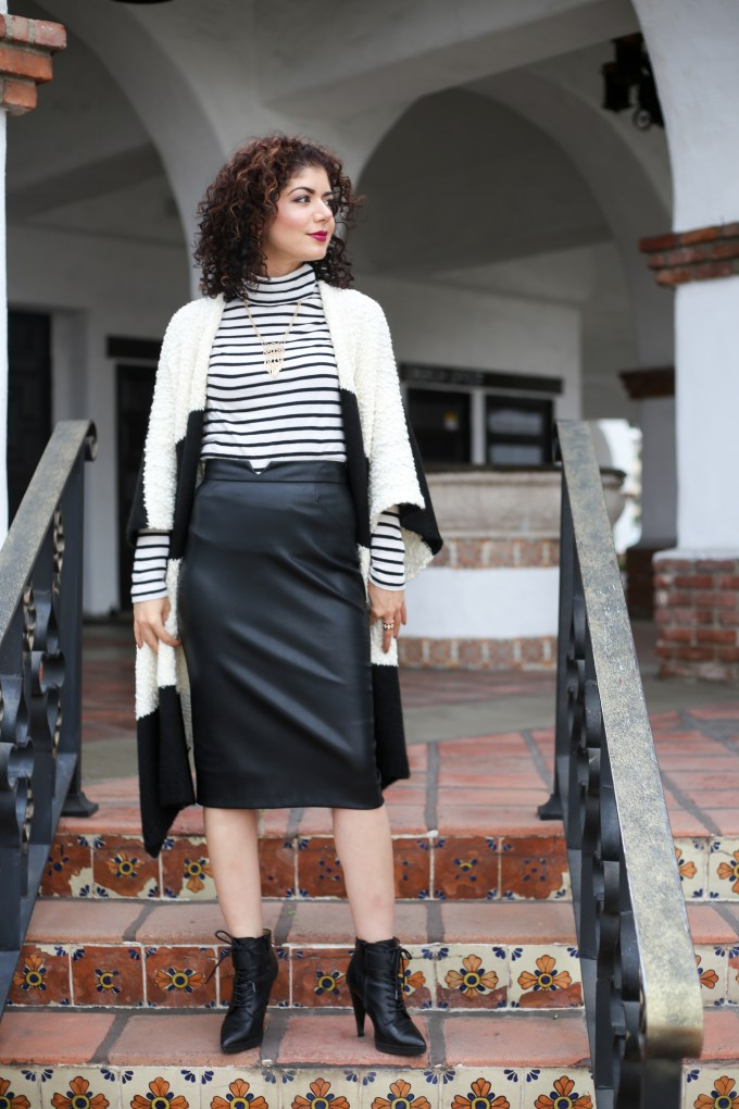 Two ways to style a kimono or ruana. Try a work appropriate day look as well as a casual fun look. Anthropologie mixed stripes kimono review | J Crew tissue turtleneck | leather leggings | leather skirt | pattern mixing outfit | work outfit | fall outfit | fall layers.
