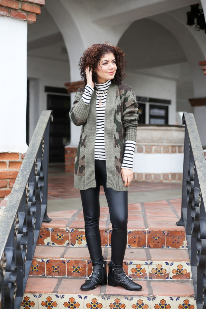 Casual cardigan sweater outfits, pattern mixing with J crew striped turtleneck, Target mossimo, camo print cardigan, chunky cardigan, studded boots