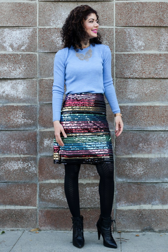 How to style a sequined skirt | Anthropologie sequined soiree skirt | 12 days of skirtmas | polished whimsy | everyday style blog | party skirt | review | styling tips | miniskirt | winter style