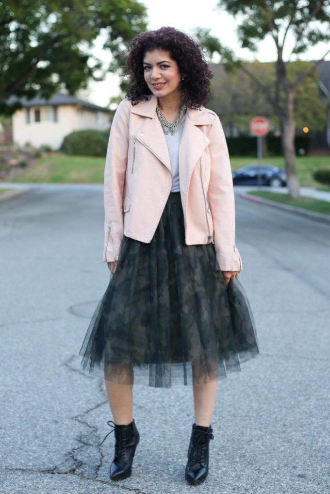 Camo tulle skirt and leather jacket outfit | camouflage | skirtmas | blush pink | polished whimsy blog| everyday style | feminine skirt | feminine outfit | skirt outfit
