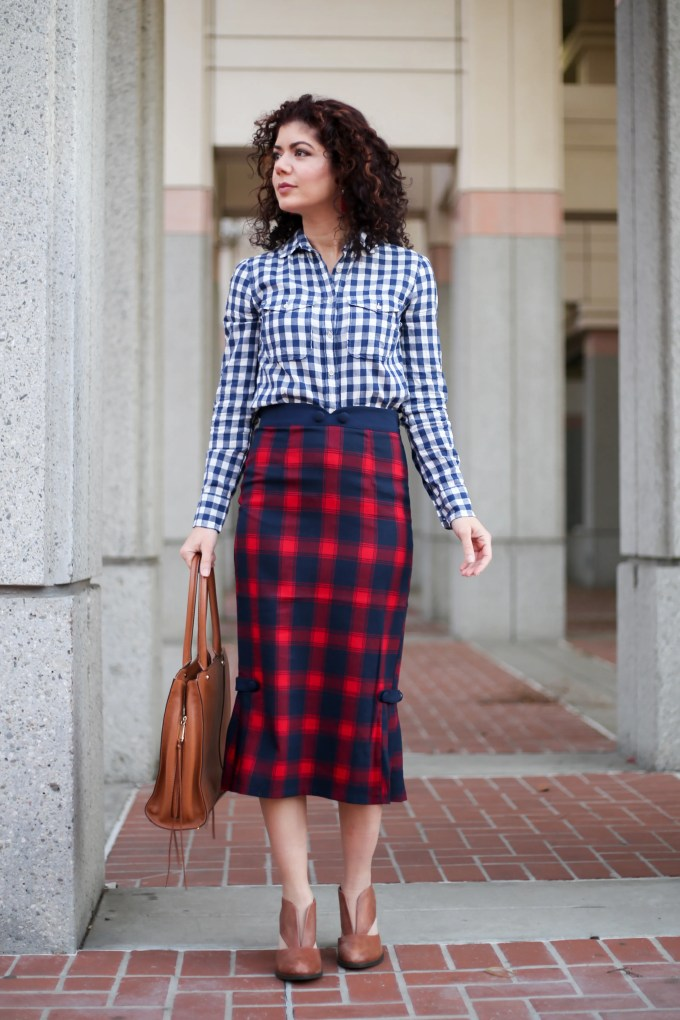 Plaid pattern mixing with Modcloth plaid pencil skirt and J Crew gingham button-down | high-waisted skirt | vintage style | 40s style | Cardinal care to converse pencil skirt skirt outfit | polished whimsy | everyday style blog | 12 days of skirtmas | how to wear more skirts