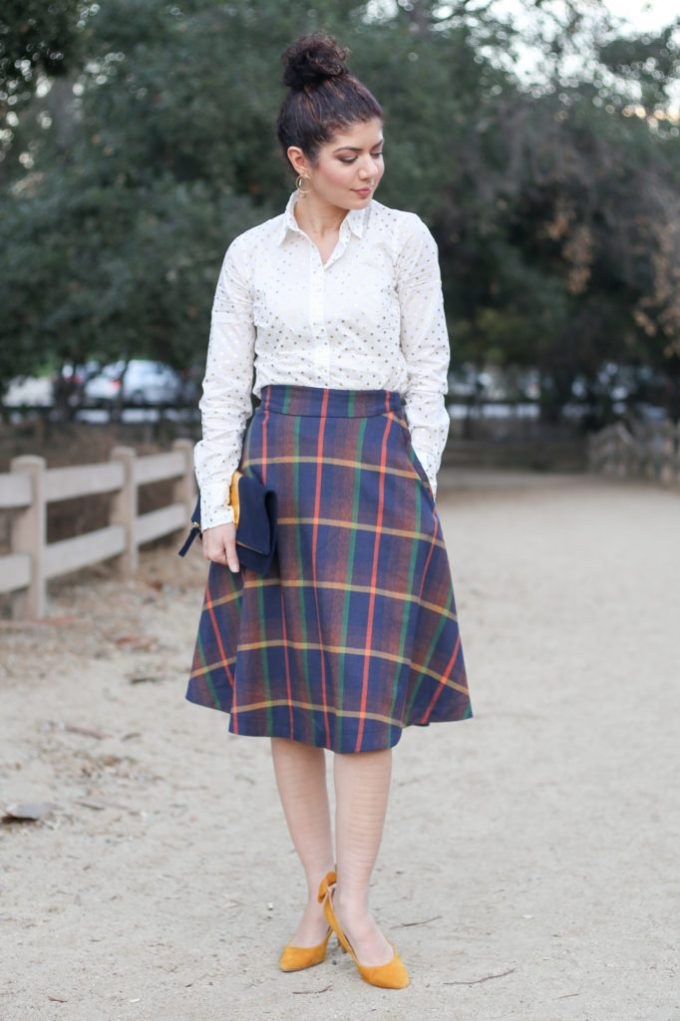 12 Days of Skirtmas featuring the Modcloth plaid prim class hero midi skirt review | J Crew gold polka dot button down shirt | skirt outfit | midi skirt | plaid skirt | fall outfit | work outfit | fall style