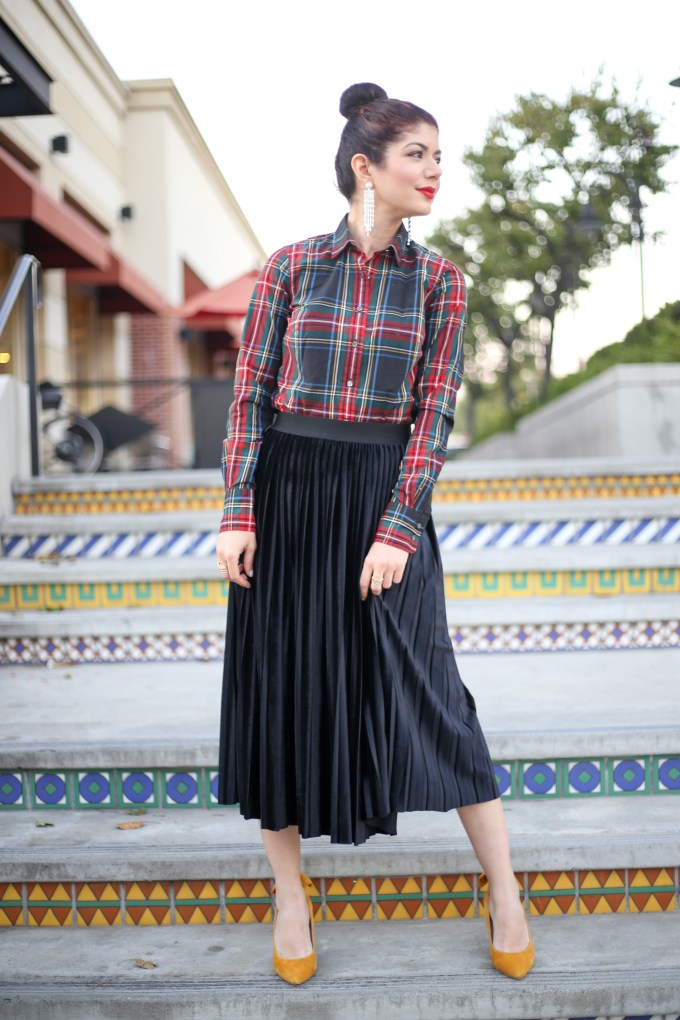 Halogen velvet pleated midi skirt styled two ways for Skirtmas on Polished Whimsy blog. J Crew Stewart plaid | J crew allover bows tee | feminine outfit | winter outfit | skirt outfit
