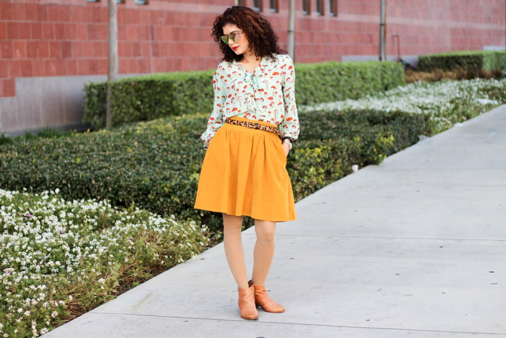 Anthropologie blouses   Anthropologie mushroom blouse   Anthropologie favorites   mint and mustard   work outfit inspiration   color combination   color inspiration   colorful outfit   pattern mixing   leopard print belt   corduroy skirt   pretty skirt outfit   bow-tie blouse   silk blouse   polished whimsy   everyday style blog