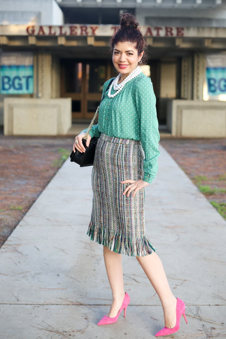 Anthropologie fringed tweed pencil skirt review   fit review   style tips   work outfit inspiration   casual outfit inspiration   mom outfit inspiration   feminine style   green and pink   color combination   color inspiration   anthropologie style   pink pumps   polka dot top   winter outfit   spring outfit