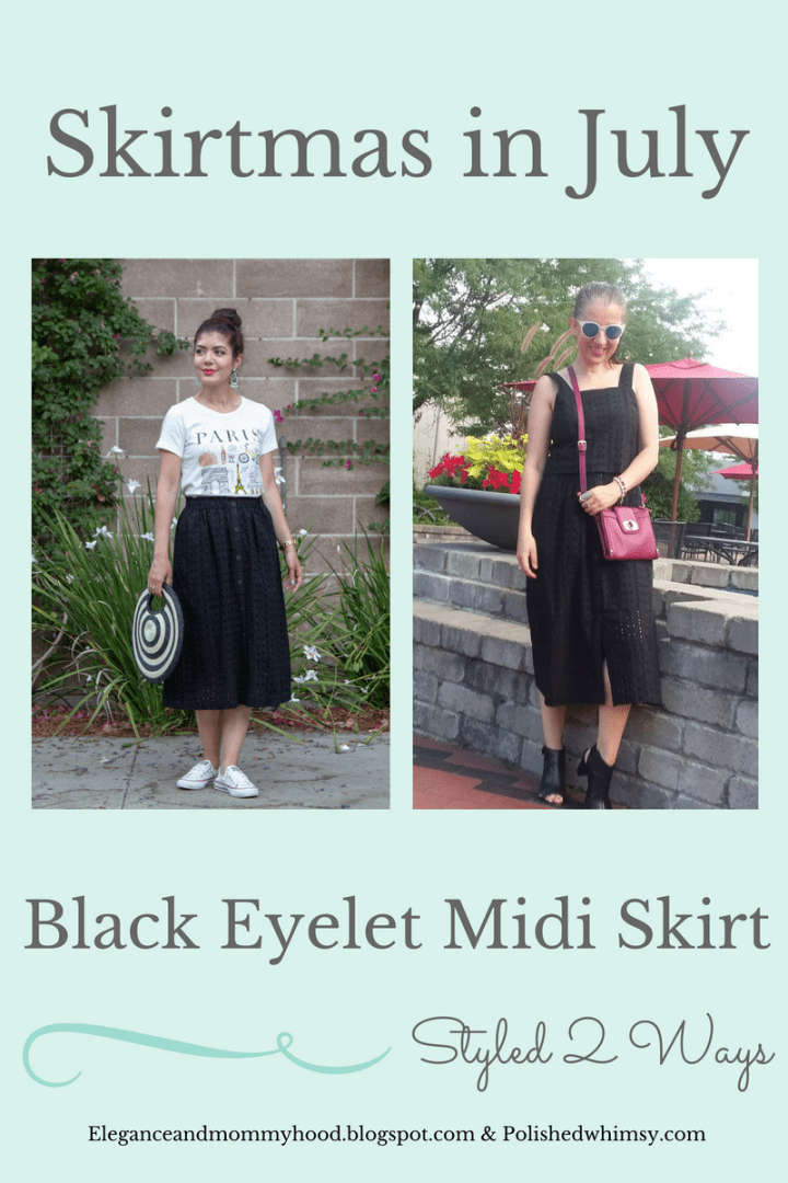 Target button up eyelet skirt | black eyelet | summer skirt | summer style | summer outfit | skirtmas in July | polished whimsy | pattern mixing and colorful style blog | casual look | fashion | style | outfit