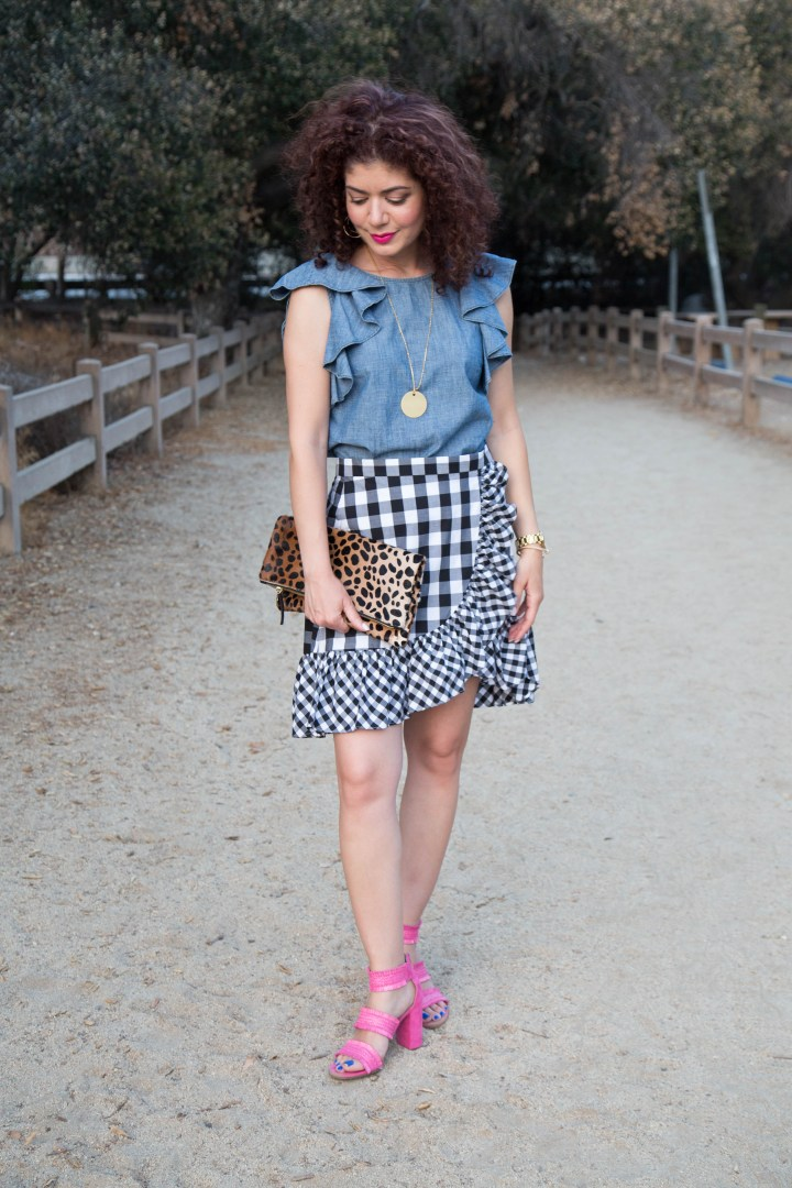22843dc8c0468 Styling the J Crew Gingham Ruffle Mini Skirt and Fit Review