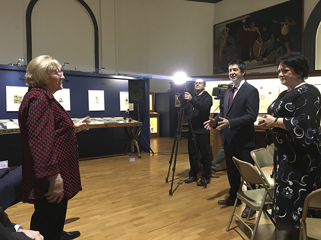 Dr. Ewa Radwańska interviewed by E. Jarzabek of Polvision TV. Present Marek Skulimowski of Kosciuszko Foundation and Kornelia Krol of Polish-American Medical Society