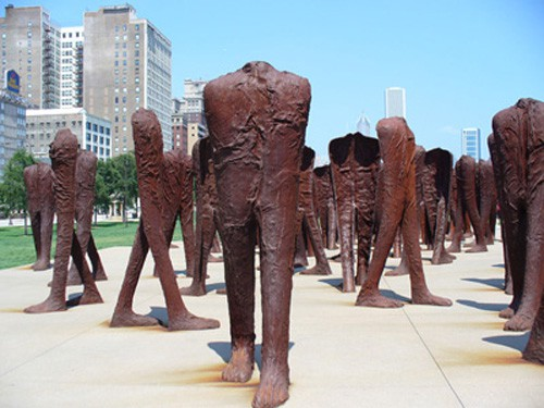 Magdalena Abakanowicz's sculptures in Chicago's Grant Park.