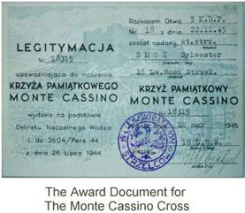 The Award Document for Monte Cassino Cross