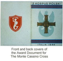 Front & back covers of The Award Document of The Monte Cassino Cross