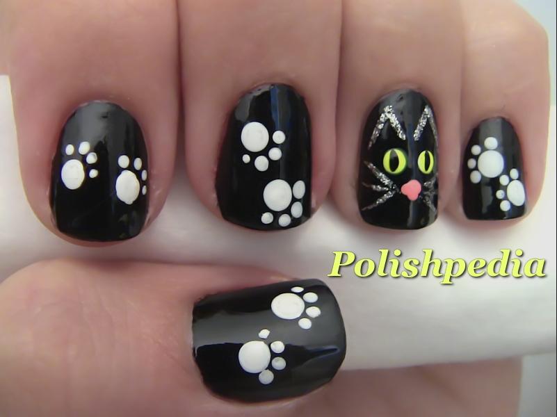 Black Cat Nail Art For
