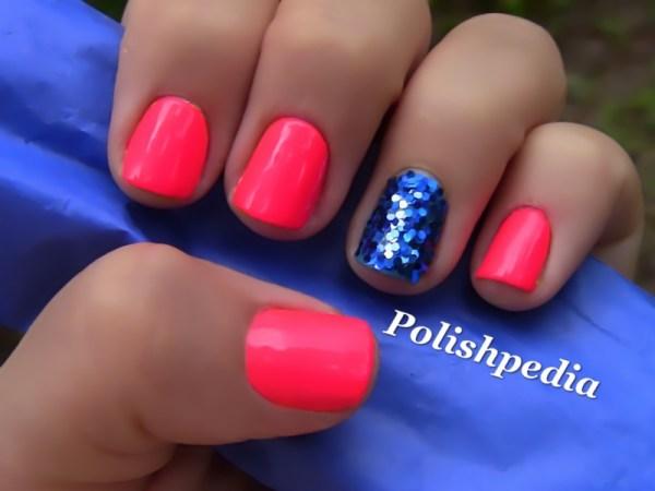 Neon Pink Nails With Blue Glitter Polishpedia Nail Art