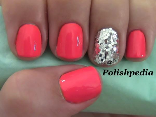 Neon Pink Nails With Silver Glitter Polishpedia Nail
