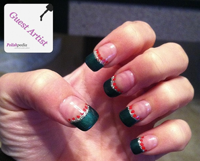 Green French Tip Christmas Nails