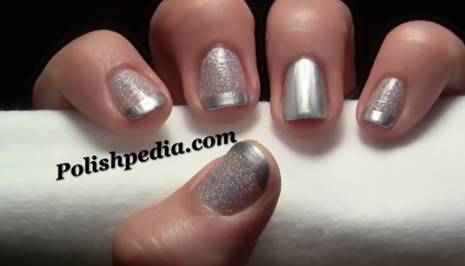 Black White And Silver French Tip Nail Art Design Ideas 396