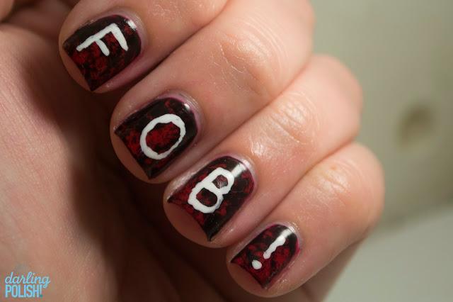 Nails, Sinful Colors Gogo Girl, Nail Art, Nail Polish, FOB, Sinful Colors Black on Black, China Glaze Snow, Hey Darling Polish