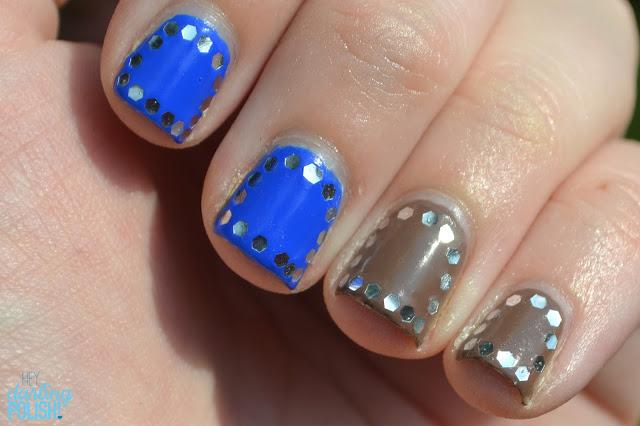 Nails, Nail Art, Sinful Colors Endless Blue, Sinful Colors Nirvana, Glequins