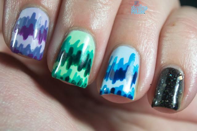 nails, nail art, nail polish, stripes, purple, green, blue, lynbdesigns start with the riding crop, black, indie polish, hey darling polish!