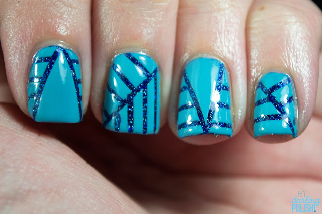 nails, nail polish, nail art, zoya, zoya dream, zoya rocky, stripes, lines, blue