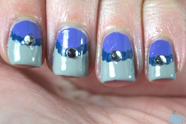 nails, nail polish, nail art, half moons, half moons nail art, rhinestones, purple, grey, blue