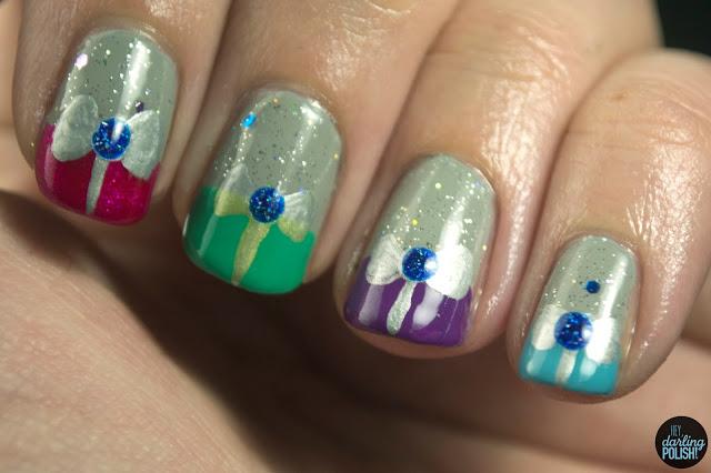 nails, nail art, nail polish, christmas winter challenge, presents, bows, gifts, hey darling polish