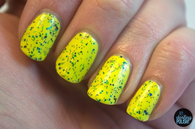 hey darling polish, swatches, indie, indie polish, cascade polish, yellow, frights, glitter