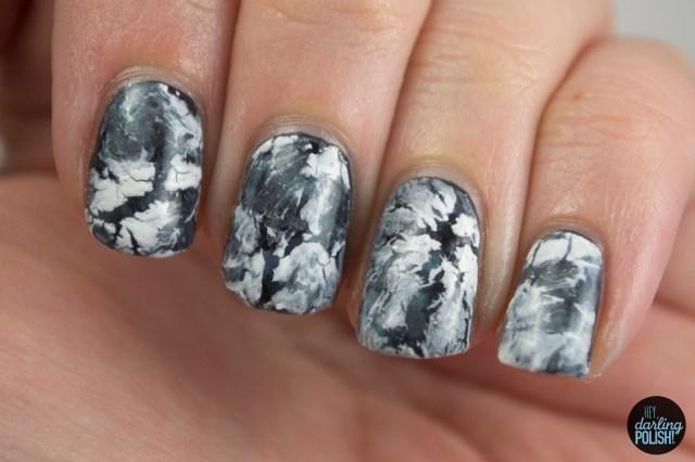 nails, nail art, nail polish, polish, white, black, hey darling polish, crackle, water spotted