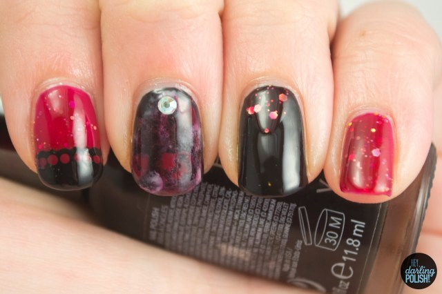 nails, nail polish, nail art, polish, red, black, shirley ann nail lacquer, hey darling polish