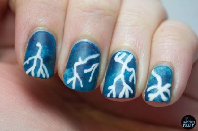 nails, nail polish, nail art, polish, lightening, weather, fingerfood theme buffet, blue nails, hey darling polish