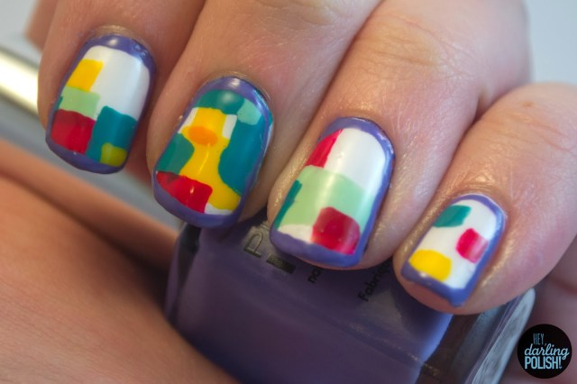 nails, nail polish, nail art, we are the in crowd, guaranteed to disagree, hey darling polish, freehand, blocks, colorful, music monday