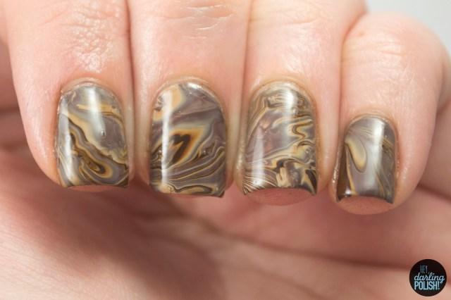 nails, nail art, nail polish, polish, water marble, brown, monochrome, nail art a go go, hey darling polish