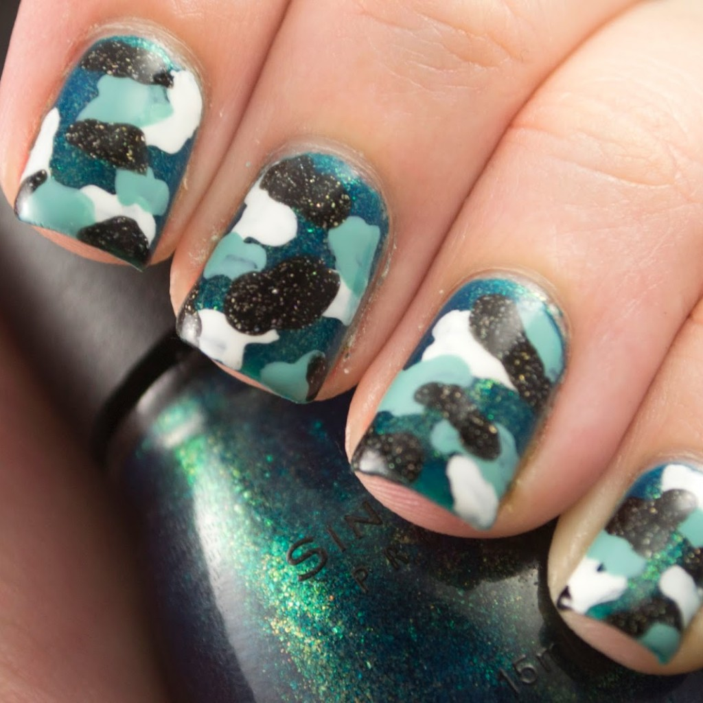 Nail art a go go day 12 camouflage polish those nails camouflage nails nail polish nail art polish blue turquoise prinsesfo Gallery