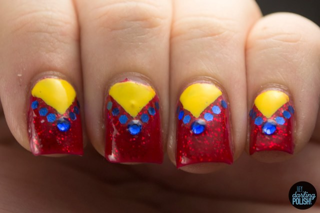 nails, nail art, nail polish, polish, red, blue, yellow, primary, triangles, glequins, rhinestones, nail art a go go, hey darling polish