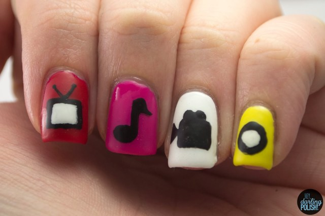 nails, nail polish, nail art, polish, pop culture, hey darling polish, nail art a go go, tv, music, video camera