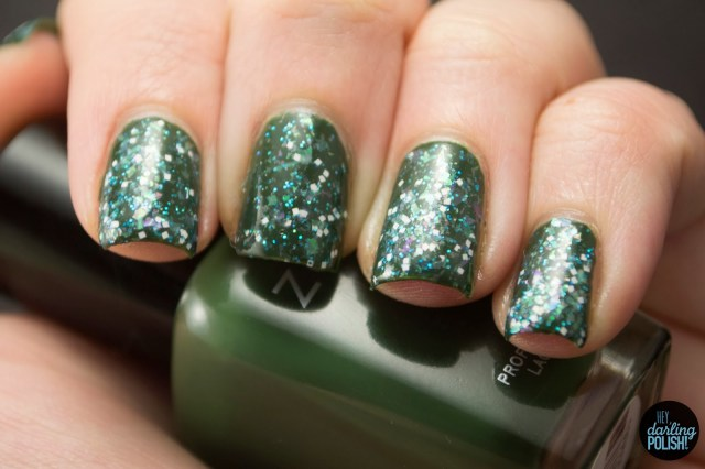 green, glitter, morning snow, white, square, flakes, nails, nail polish, indie, indie polish, indie nail polish, sick lacquers, hey darling polish,