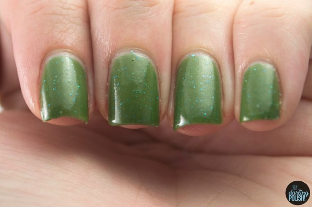 indie, indie polish, indie nail polish, nail polish, swatches, swatching, hey darling polish, star crushed minerals, green, glitter, deep aqua gold